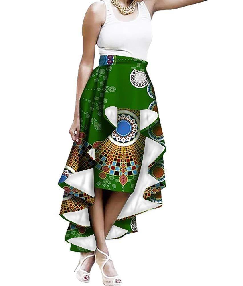 New Spring Summer Women Long Skirt Fashion Bohemian Big Swing African Print Skirts Casual Elastic Waist Maxi Floor Length Skirt Bottoms Skirts