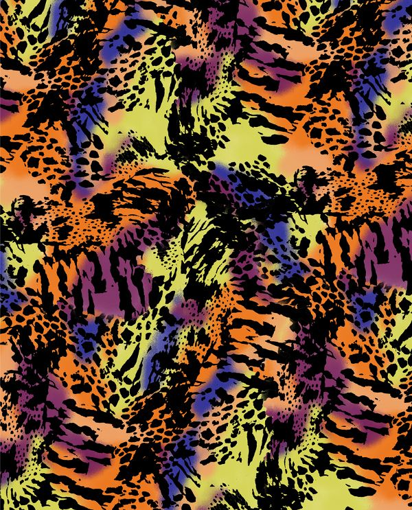 Fluro mixed animal skins surface design