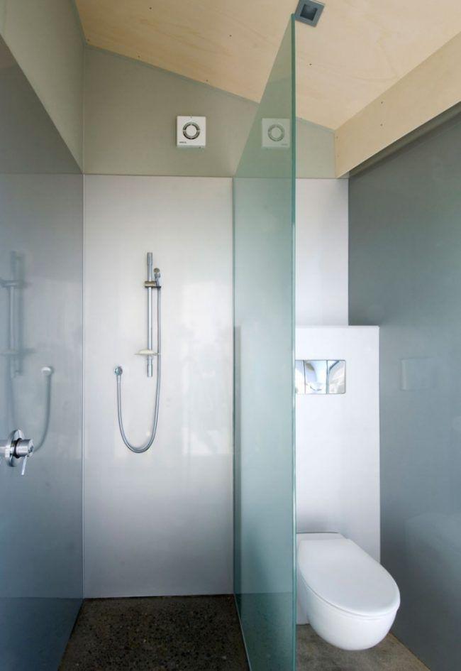 kleines-badezimmer-dusche-matt-glas-abtrennung Dusche Pinterest - badezimmer mit dusche
