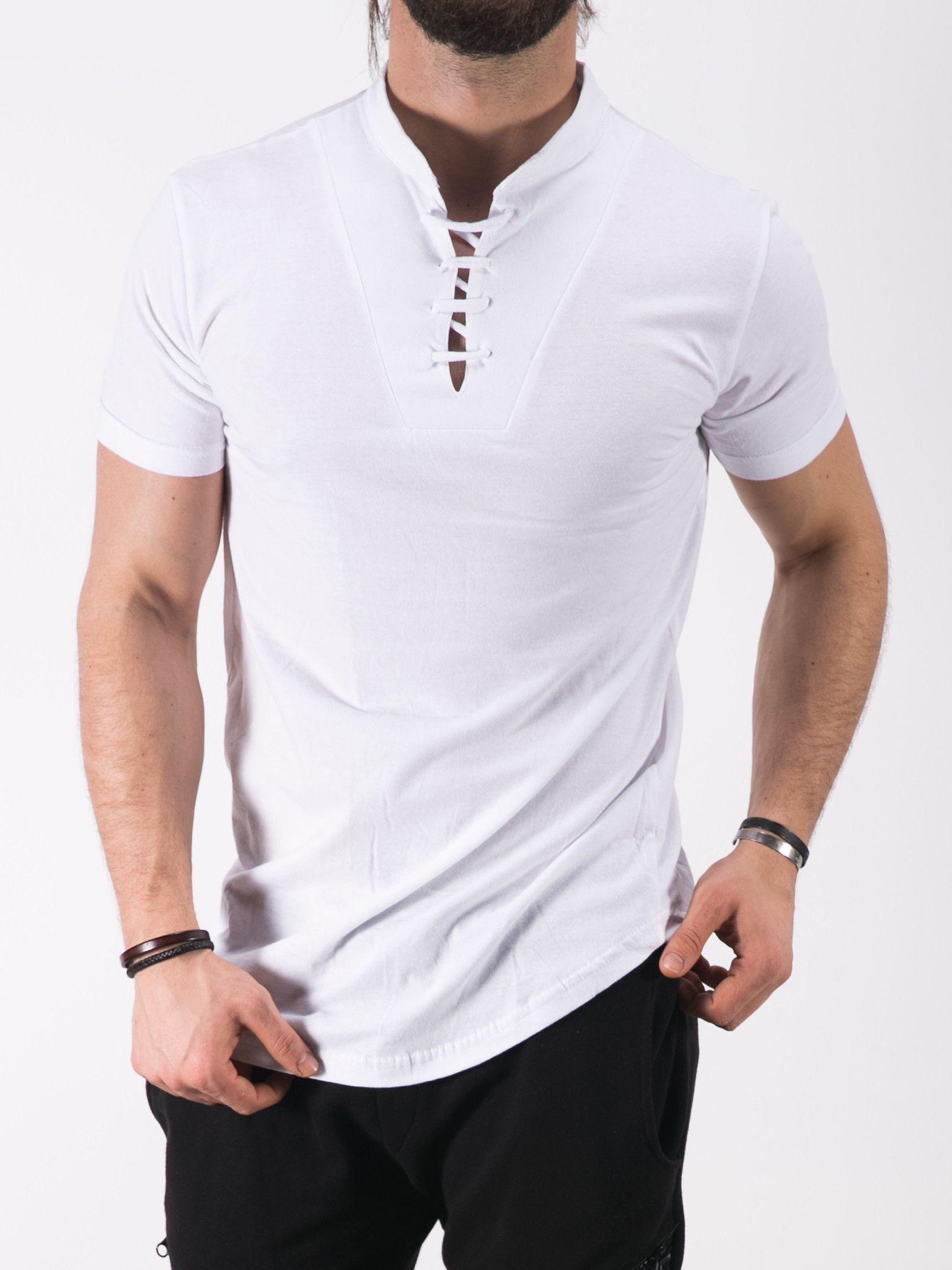 aa429d76222a K B Men Lace Mock Neck T-shirt - White