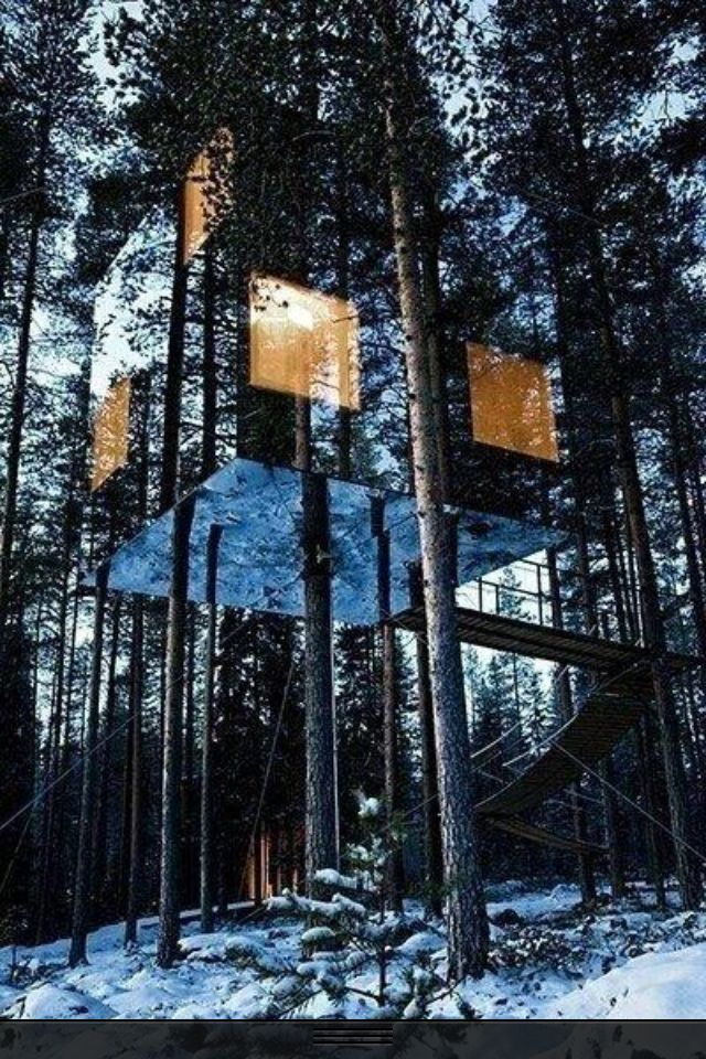 Mirrored treehouse in Sweden.