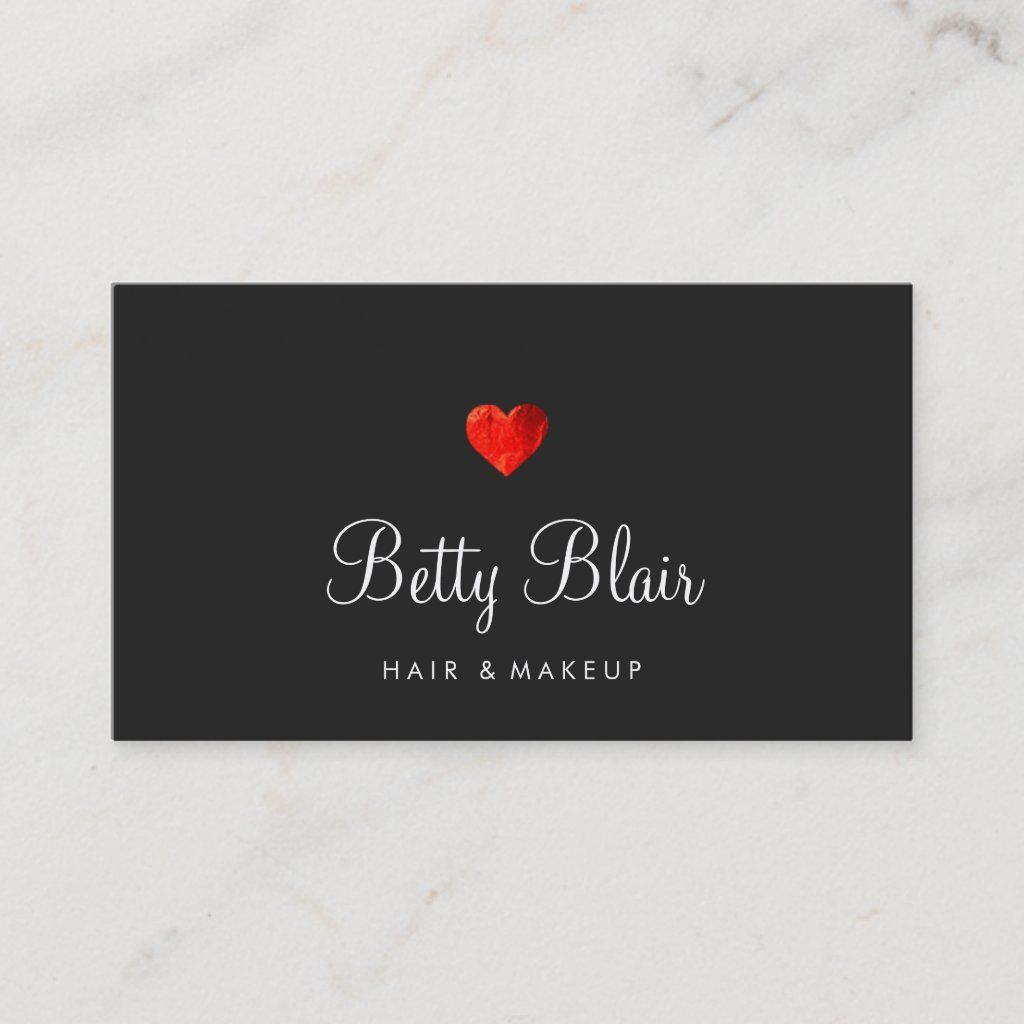 Simple Red Heart Black Hair and Makeup Consultant Business Card