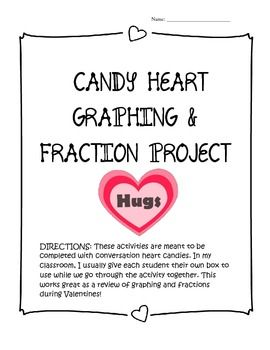 These two activity pages are meant to be used with boxes/bags of conversation hearts. The skills covered include: creating bar graphs, line graphs, line plot, and pictographs; also fractions, fractions on a number line, adding fractions, and probability.
