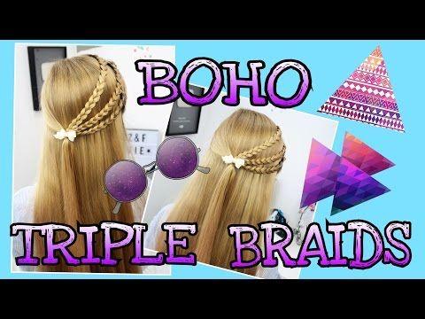boho mini zöpfe triple braids coole mädchen zöpfe&frisuren