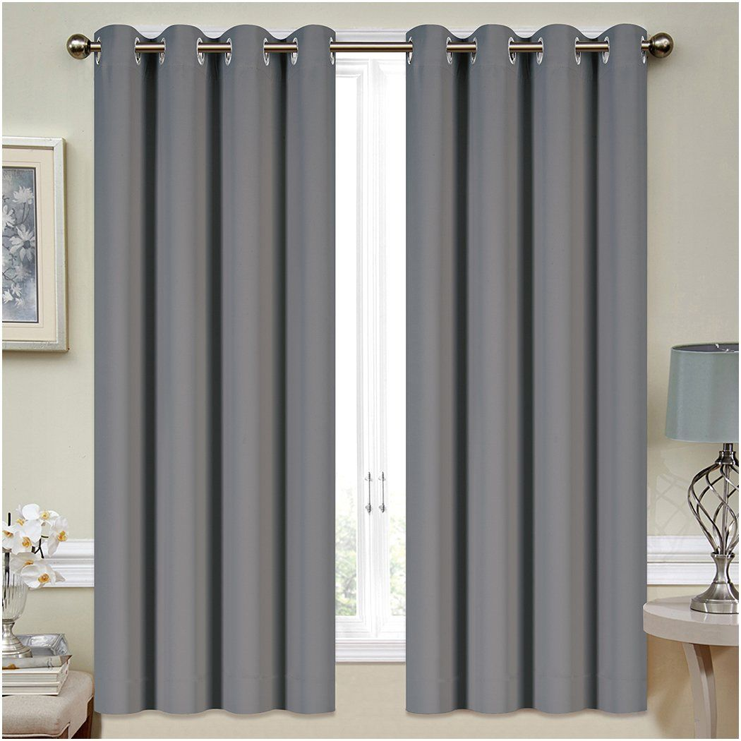 Mellanni Thermal Insulated Blackout Curtains 2 Panels Window Treatments  Drapes For Bedroom Living Room With Silver Grommets And 2 Tiebacks 2 Panels  52 X 63 ...