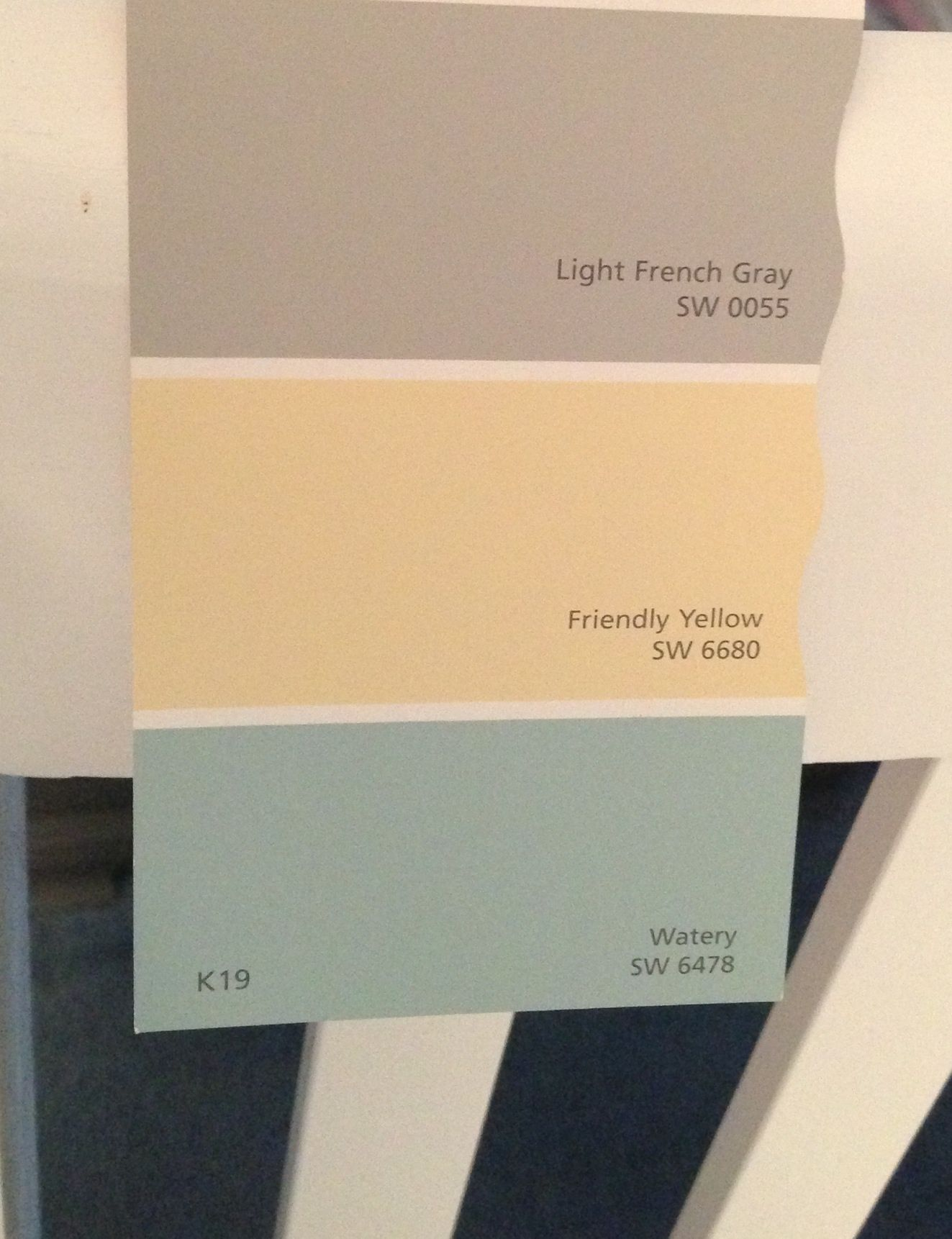 Sherwin Williams light French gray, friendly yellow, and watery ...
