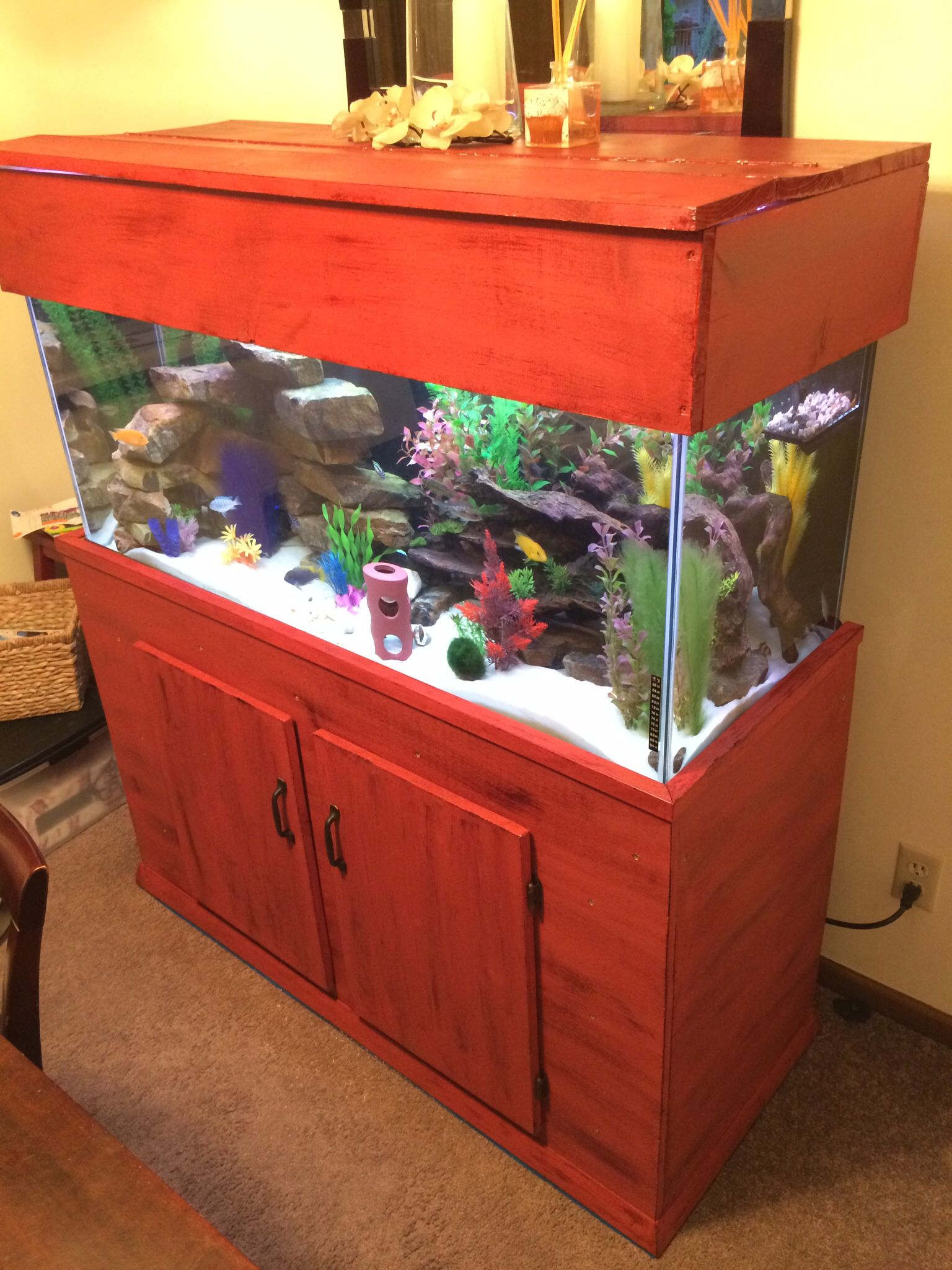 Plywood 75 gallon fish tank stand painted red and distressed. | Yep ...