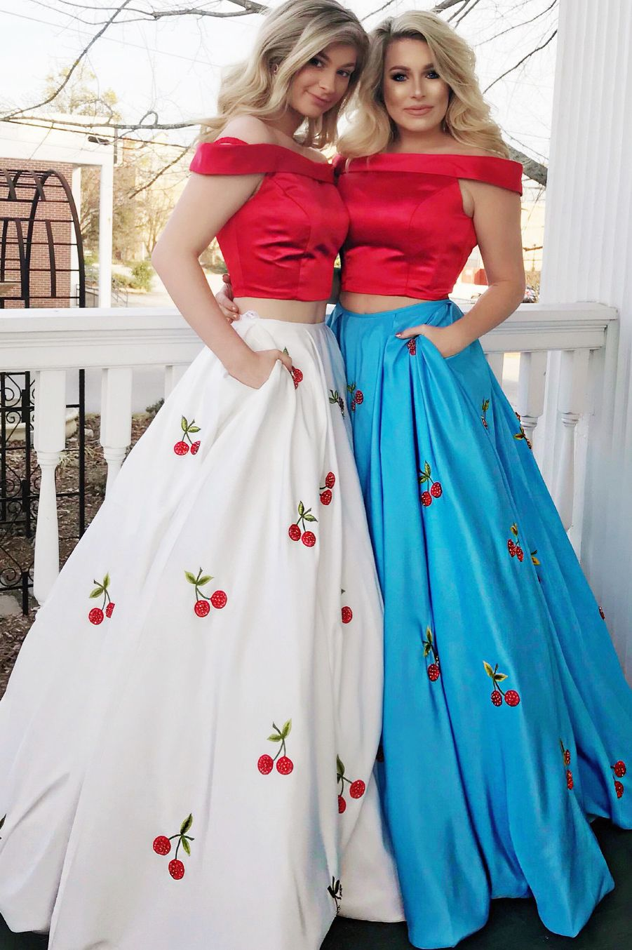 Princess red off the shoulder long prom dress with cherry by
