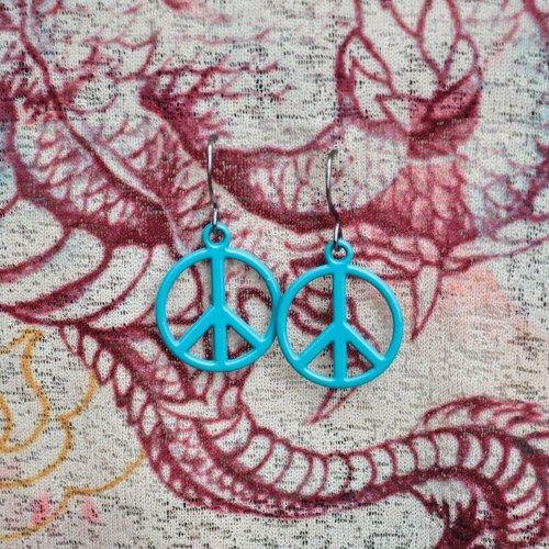 Light Blue Peace Sign Earrings | KayoticTreasures - Jewelry on ArtFire