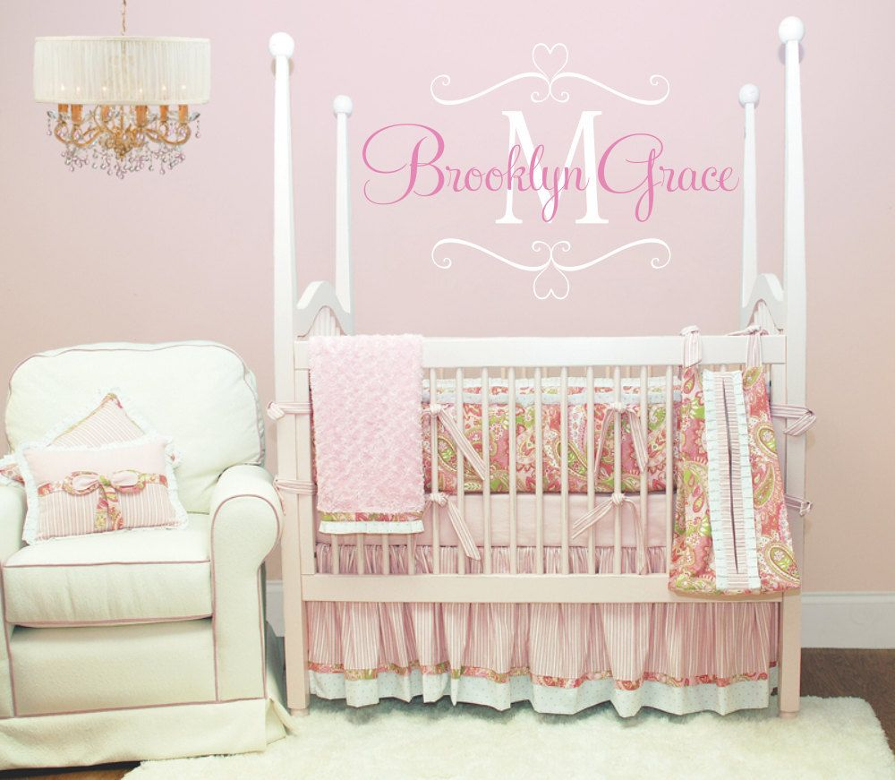 Name Wall Decal Baby Nursery Shabby Chic Heart Frame Personalized - Vinyl wall decals baby nursery