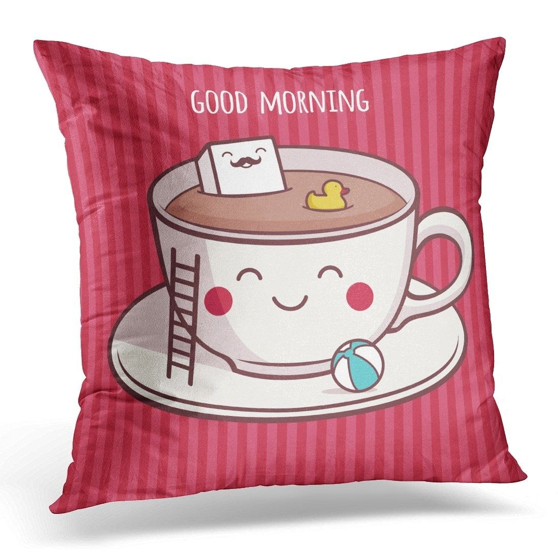 Red Coffee Good Morning Funny Pillow Case Pillow Cover 20x20 inch