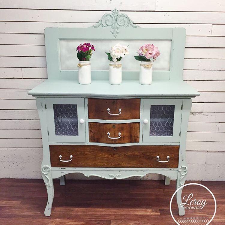 Upcycled antique buffet, DIY chicken wire cupboards. Painted in ...