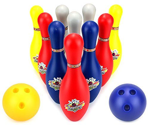 Miniature Indoor Bowling Games Super Sport Childrens Big 12 Piece Toy Bowling Set W 10 Pins 2 Bowling Balls You Bowling Balls Bowling Games Games For Kids