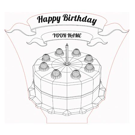 Birthday Cake 3d Illusion Lamp Vector File For Laser And Cnc 3bee Studio 3d Illusion Lamp 3d Illusions Illusions