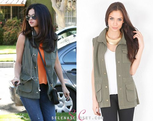 Selena Gomez was recently spotted visiting a friend in Calabasas, on trend once again in an army-style vest. This time she wore a Jet by John Eshaya Studded Army Vest, which is on sale from Singer22.com for $189.00.  Buy it HERE  She's also wearing a Lovers + Friends top, Free People boots and a Dolce & Gabbana bag. We're still looking for the rest of her outfit.
