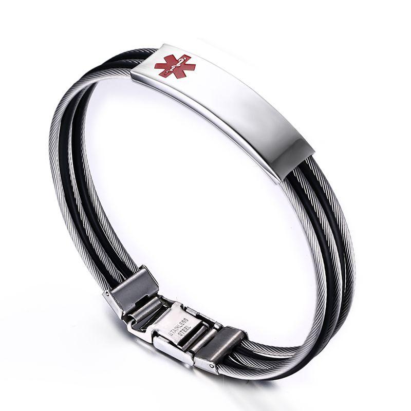 Free engraved Black Medical Alert signe ID Hommes Femmes Bracelet en acier inoxydable