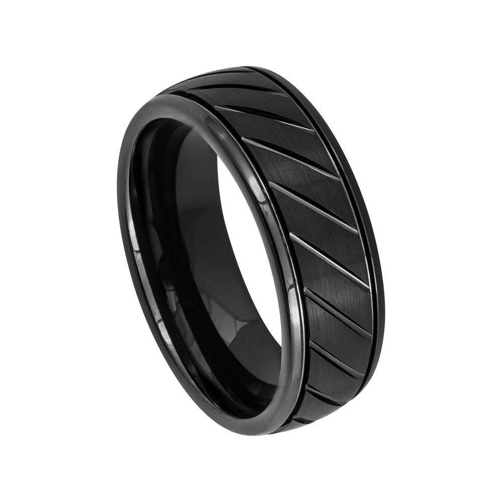 Black Ring Mens Wedding Band 8mm Engagement Band Brushed Black Etsy Mens Wedding Bands Black Rings Mens Wedding Bands Black Wedding Rings