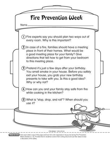 Reinforce Fire Prevention Measure With These Writing Prompt Five One Week Safety Worksheets Essay