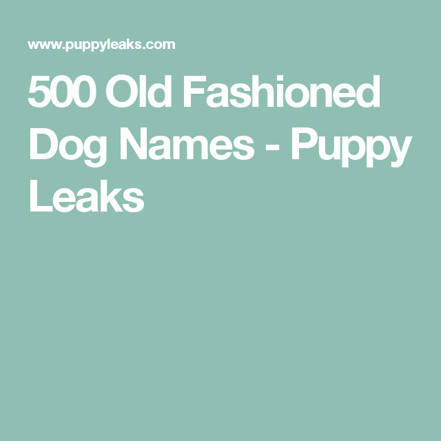 Old fashioned dog names 6