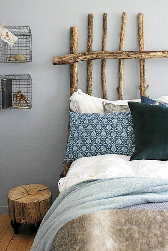 l'idée déco du dimanche : une tête de lit avec des branches