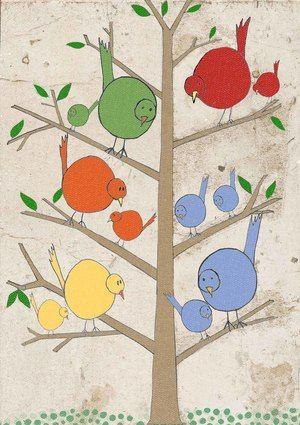 albero uccellini