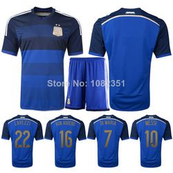e36583ba3 Online Shop Customized! Argentina Jersey MESSI Soccer Jerseys Football 2014  World Cup Home Men Football Shirt   Shorts Soccer Uniform Sets