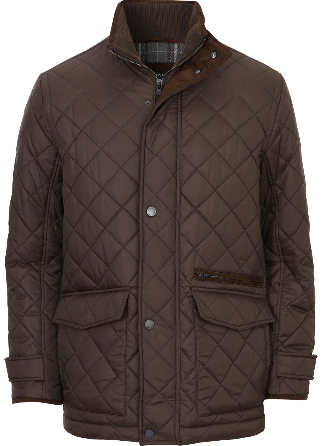 Chocolate Quilted Padded Jacket Outerwear Austin Reed
