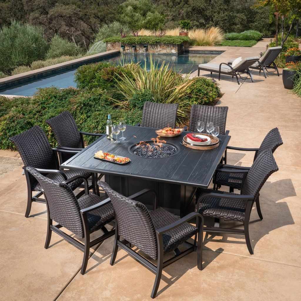 Bellafina 9 Piece Fire Dining Set With Images Dining Set Outdoor Furniture Sets Outdoor Living Space