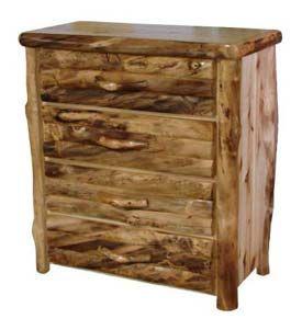 24 Inch Width 4 Drawer Half Log Dresser