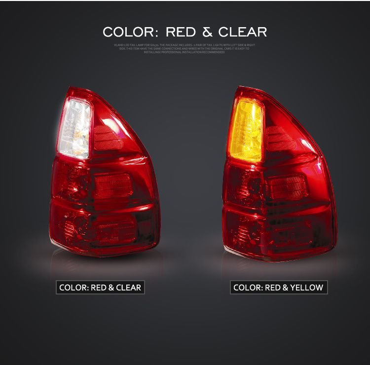 Fit Gx470 2003 2009 Led Taillights 12v Back Lamp Red Clear Red Yellow Assembly View Gx470 Taillights Vland Product Details From Zhejiang Yuanzheng Auto Moto Tail Light Red Yellow Led Tail Lights
