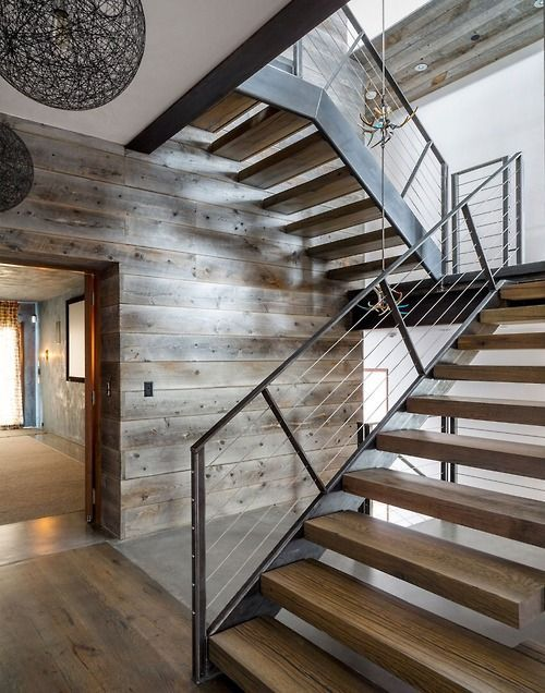 exposed wood and steel staircase
