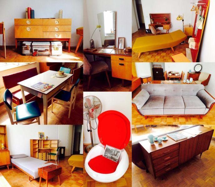 Vintage-Möbel aus drei Jahrzehnten schick, retro, nachhaltig