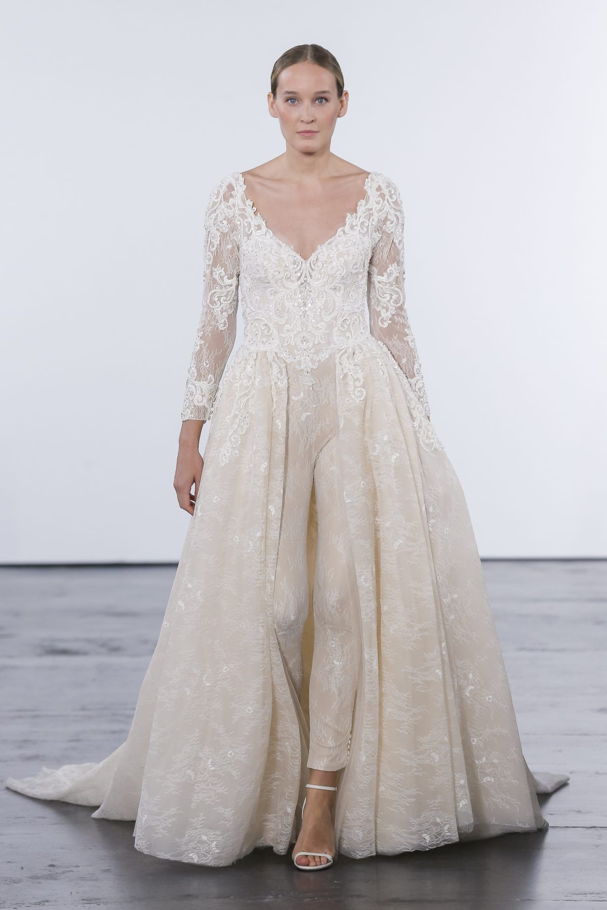 Long sleeve vneck lace pantsuit with overskirt and beaded bodice