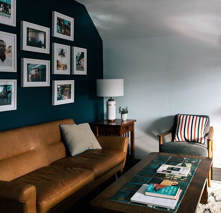 Blue Wall With Frames Art Tan Leather Couch Living Room Leather Leather Couches Living Room Tan Leather Couch Living Room
