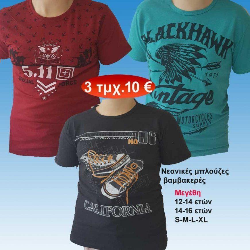 5c258741517 Πακέτο με 3 τμχ. Νεανικές βαμβακερές κοντομάνικες μπλούζες για εφήβ.