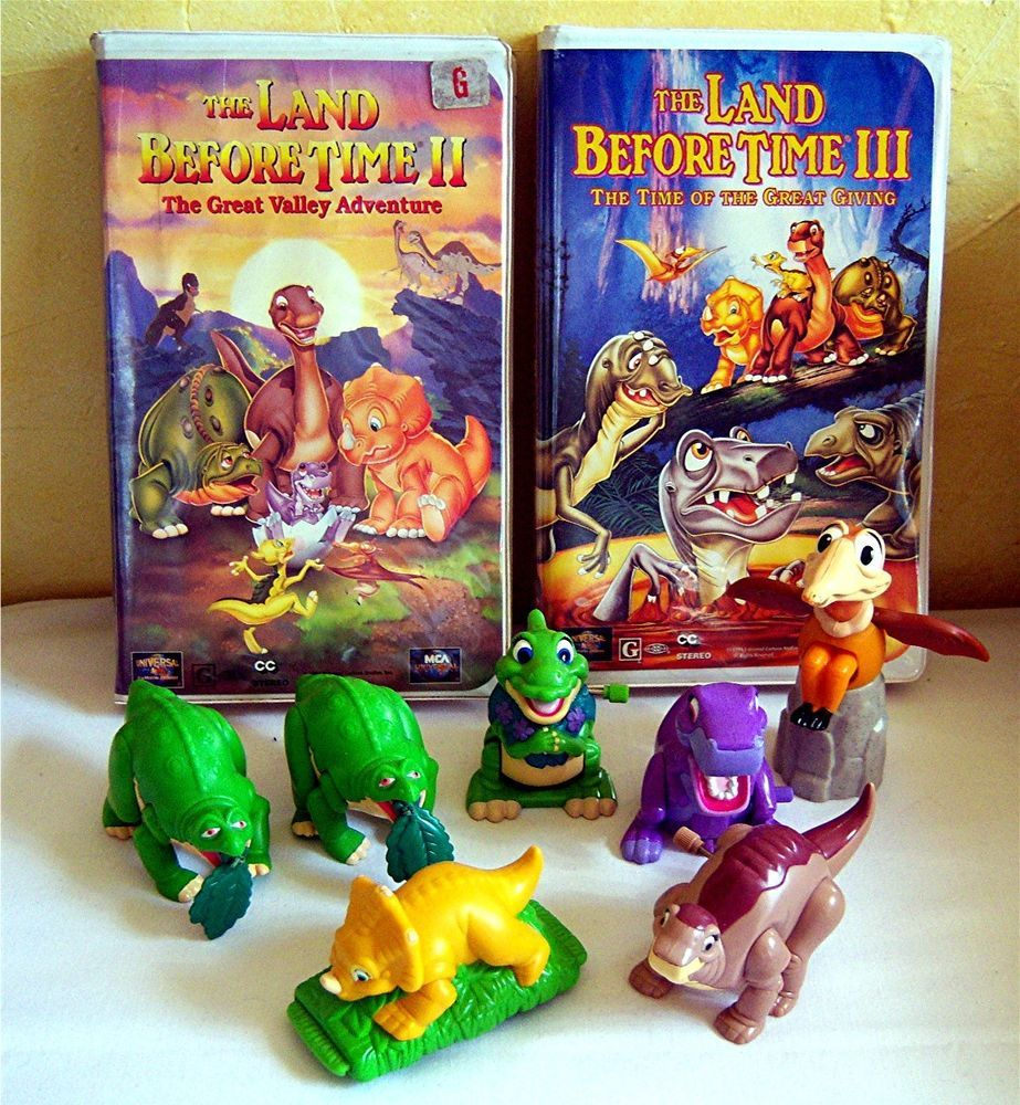 land before time ii u0026 iii vhs tapes u0026 7 burger king toys action