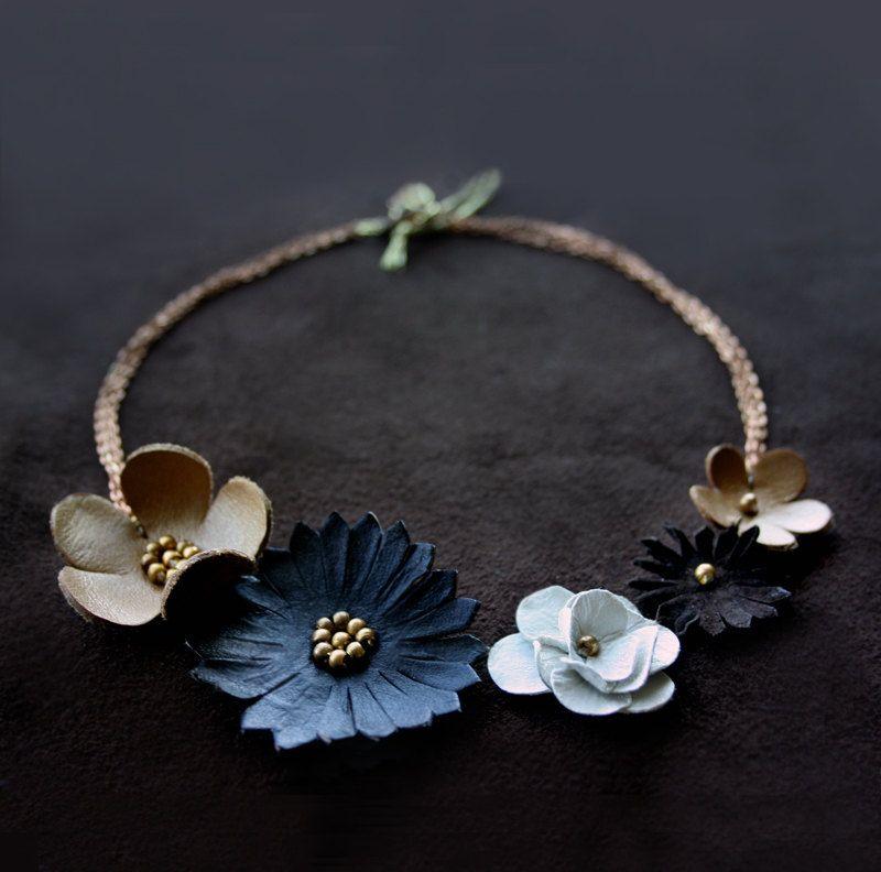 d0f8785f0 Leather flower statement necklace - Floral boho fashion jewelry - Bib  necklace - Fall Winter jewelry