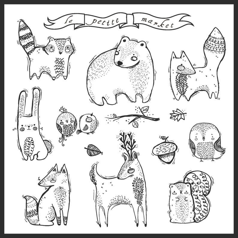 Cute Hand Drawn Digital Forest Creatures Clipart Doodly Forest Animals Hand Drawn Clipart Raccoon Fox Bear Instant Download Printable In 2021 How To Draw Hands Drawing Clipart Forest Creatures