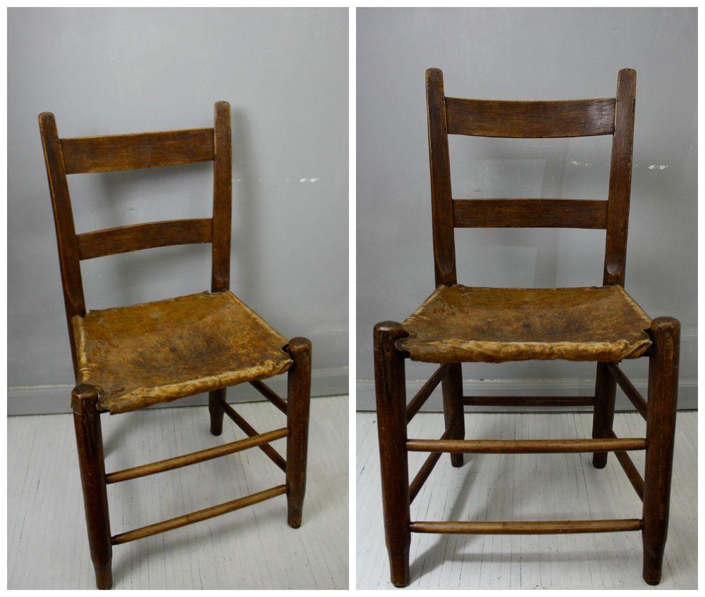Antique 1800s Rustic Primitive Ladderback Chair W Cowhide Seat