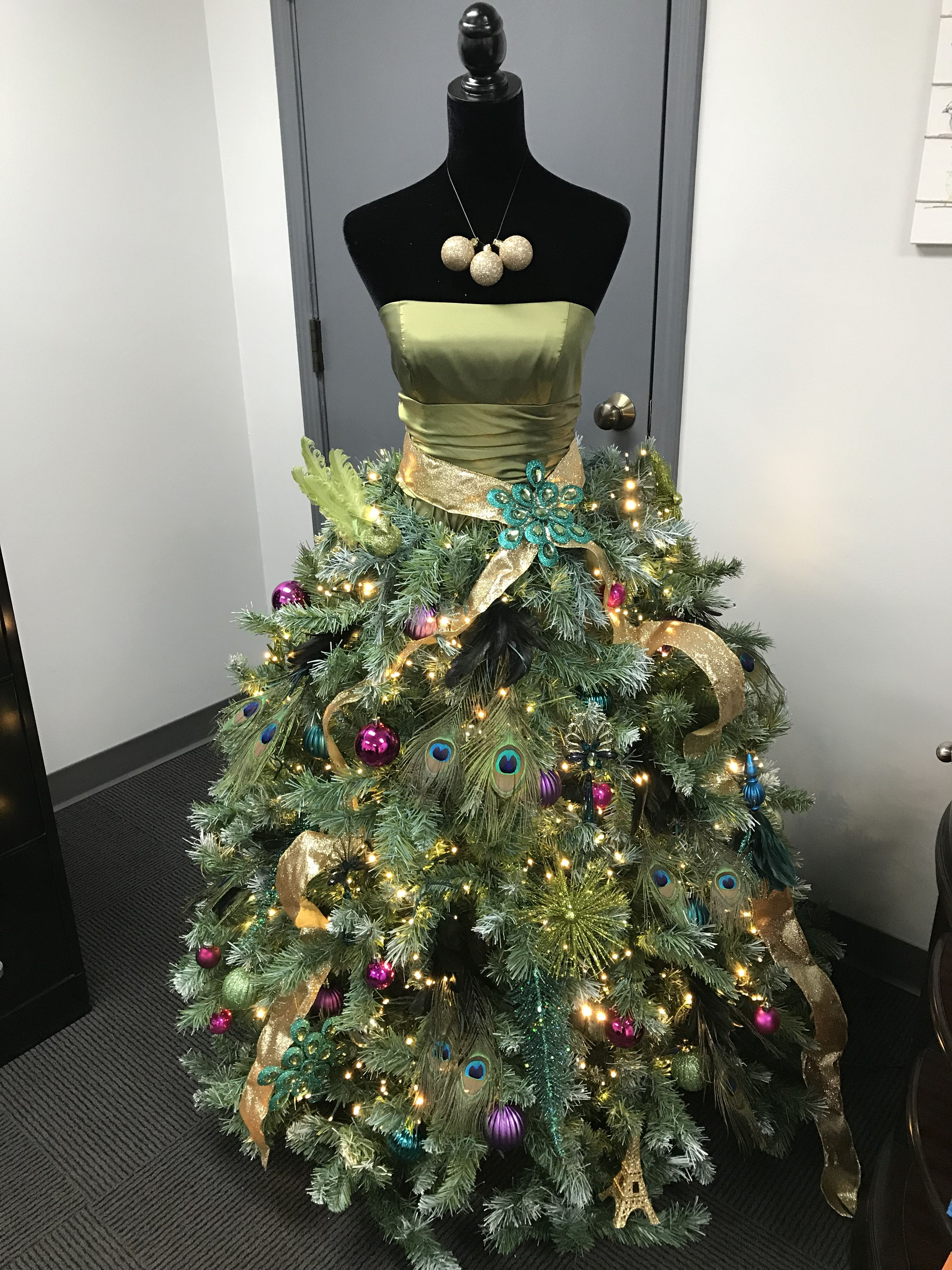 Mannequin Christmas Tree  Peacock Inspired