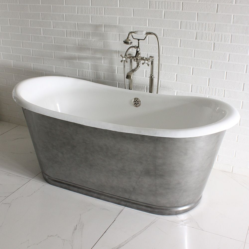 The Whitby59 59 Cast Iron French Bateau Tub With Aged Chrome