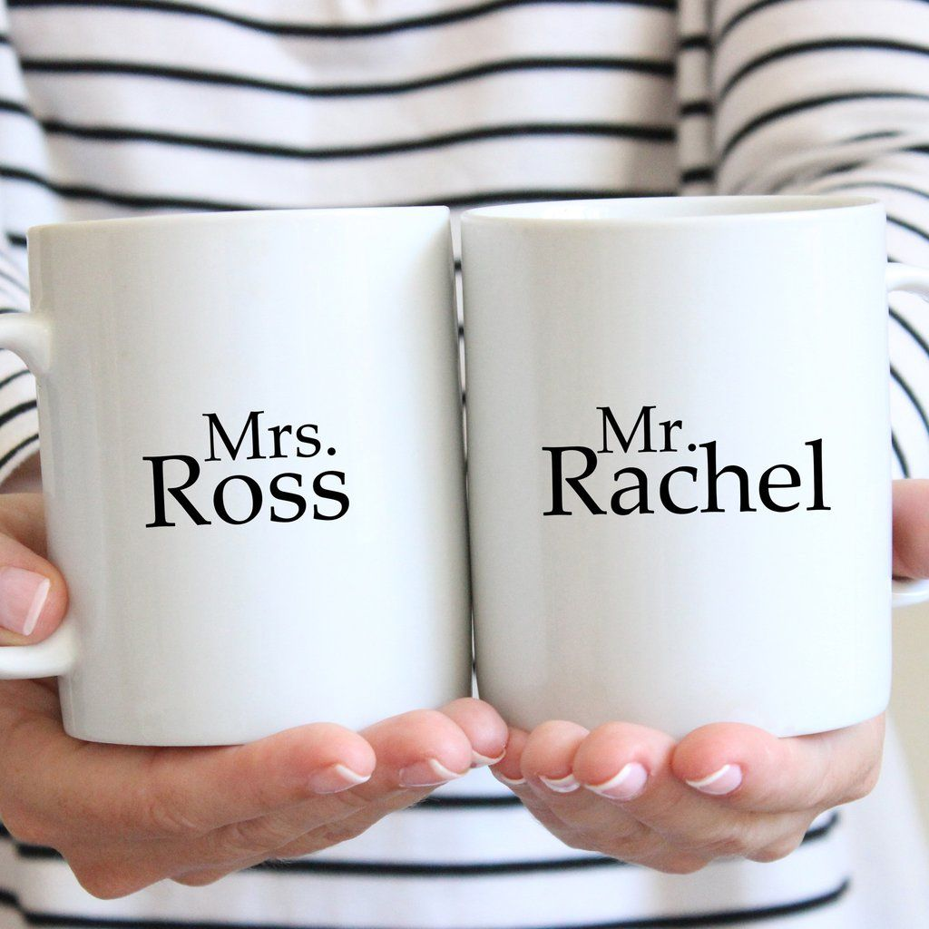 Mrs. Ross and Mr. Rachel Ceramic Mug Set
