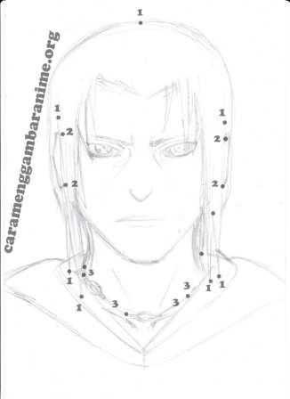 how to draw itachi uchiha face step 6