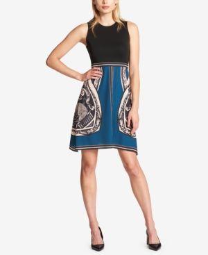 Dkny Printed Fit & Flare Dress - Black 14