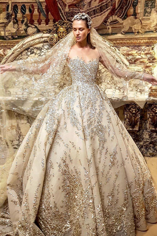 Luweiya off shoulder gold color wedding dress,lace-up crystal