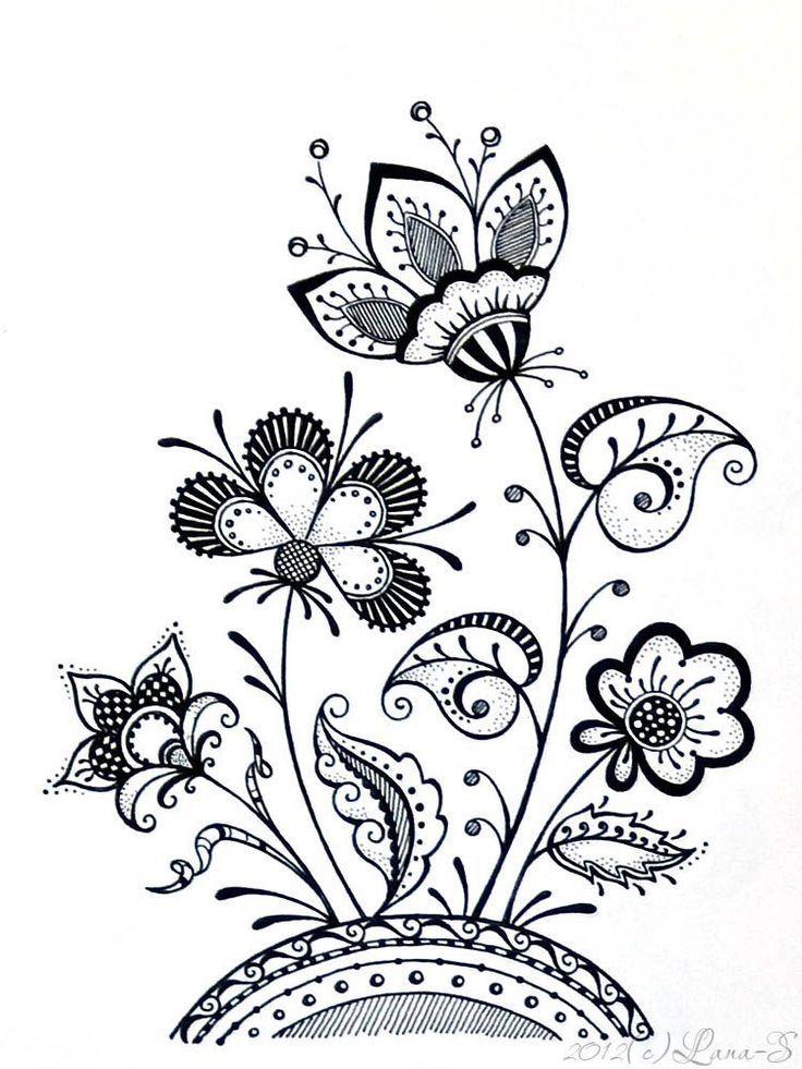 Zentangle Tangle Flowers Hojas Flores Zentangle Pinterest
