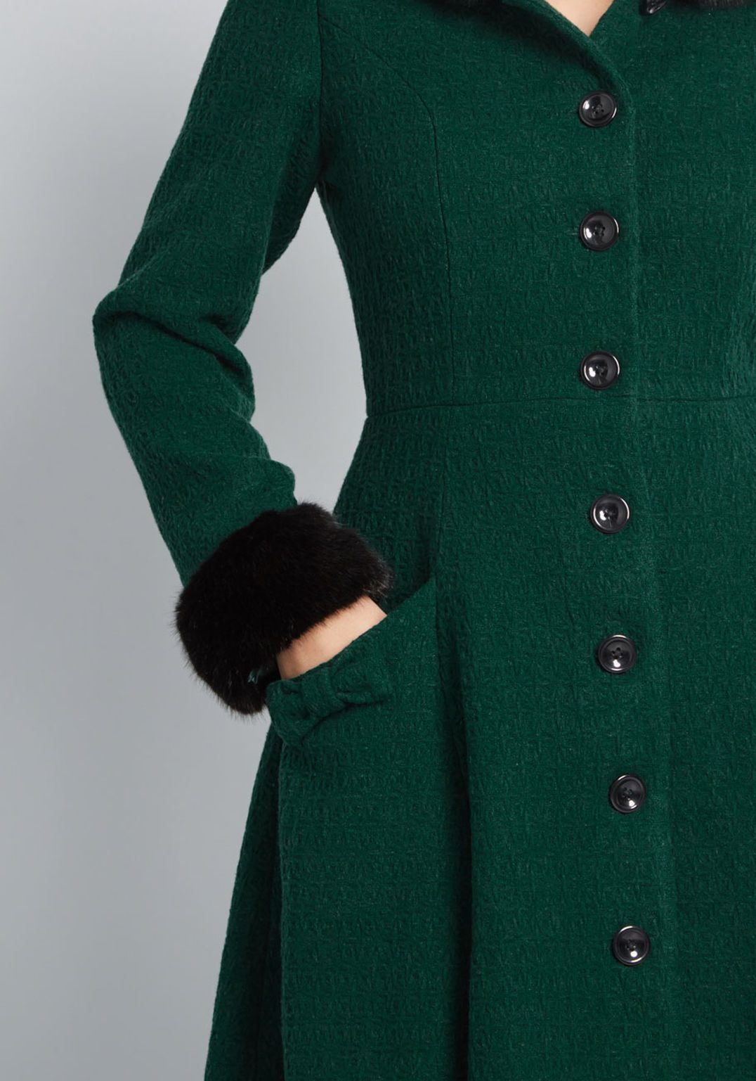 77b4fc5388a Collectif x MC Winsome Warmth Fit and Flare Coat in Emerald Green