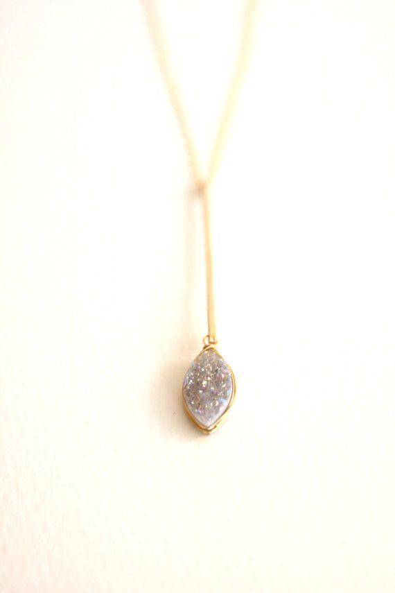 4ba14f8b4 Petal Druzy Drop pendant necklace Marquise dew drop leaf white druzy gift  for her Modern jewelry pen