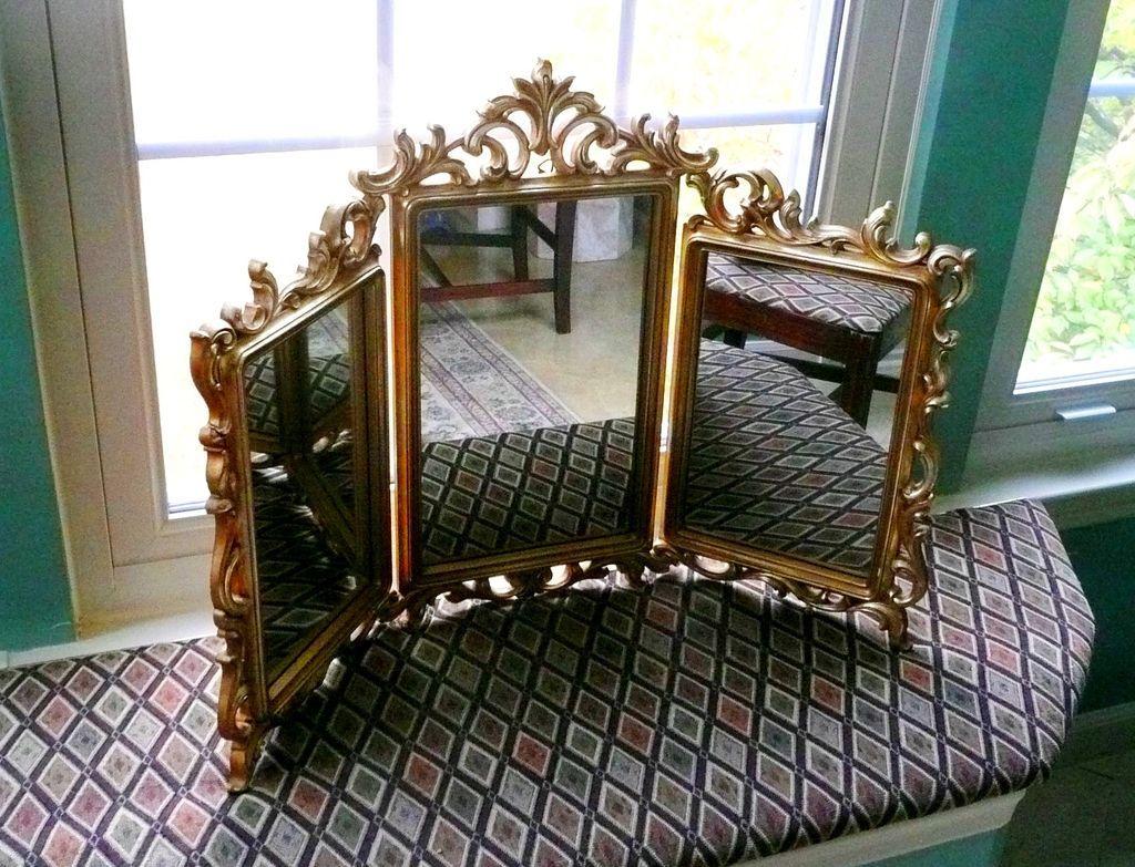 interesting bedroom mirrors | Syroco Tri-Fold Stand Up Dresser Mirror in 2019 | Dresser ...