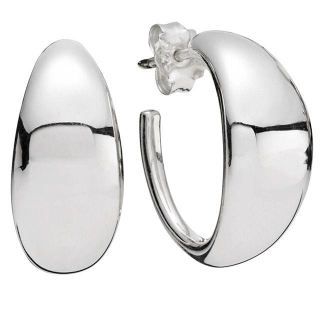 Pandora Hoop Earrings: Liquid Silver Large Flow Hoop Earrings (Pandora)